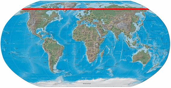 Mapa mundi y circulo polar artico