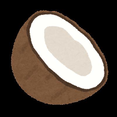 半分に割れたココナッツのイラスト