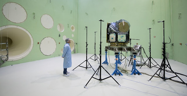 The Cheops spacecraft in the LEAF test chamber. Credit: ESA - G. Porter