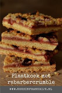 Recept met rabarber: koek met rabarabercrumble