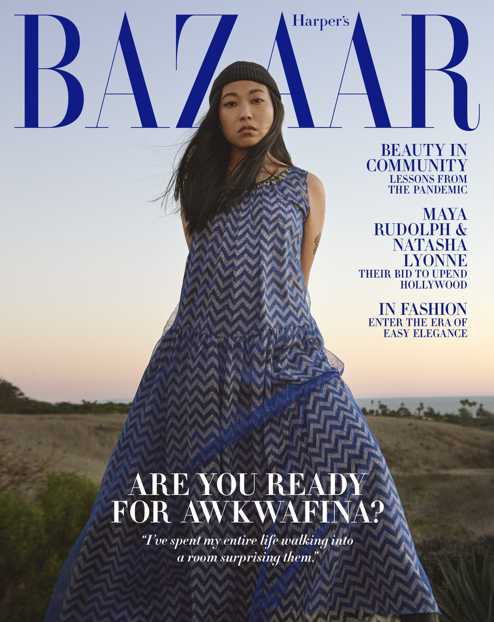 Awkwafina poses for Harper's Bazaar US February 2021