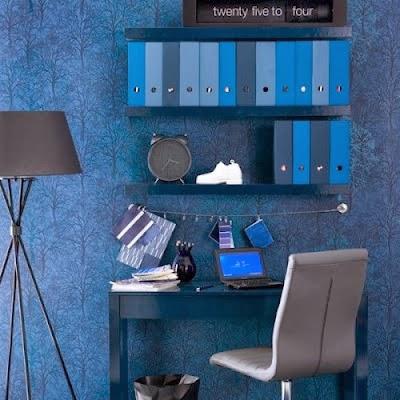 oficina paredes azul