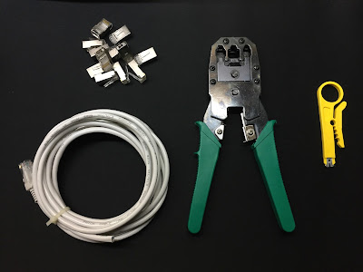 Basic tools to crimp ethernet cables