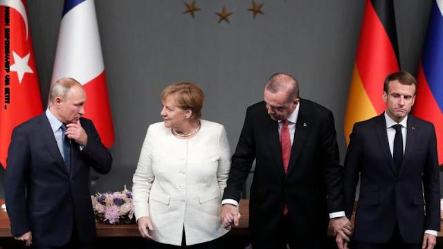 ميركل وماكرون يعرضان الوساطة بين بوتين وأردوغان بعد تفاقم خلافهما بسبب إدلب