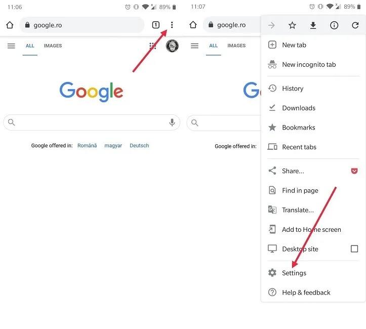 كيفية إيقاف إخطارات Chrome للجوال انتقل إلى الإعدادات