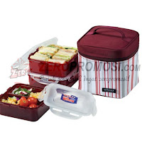 Lock & Lock HPL823dp Lunch Box Set with Purple Stripe Bag