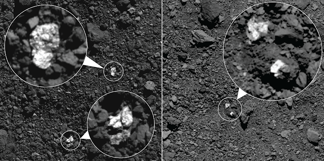 Paralelepípedos brilhantes na superfície do asteróide Bennu
