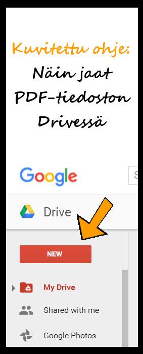 Kuvallinen ohje: Pdf-tiedoston tallennus Google Driveen ja linkitys blogiin
