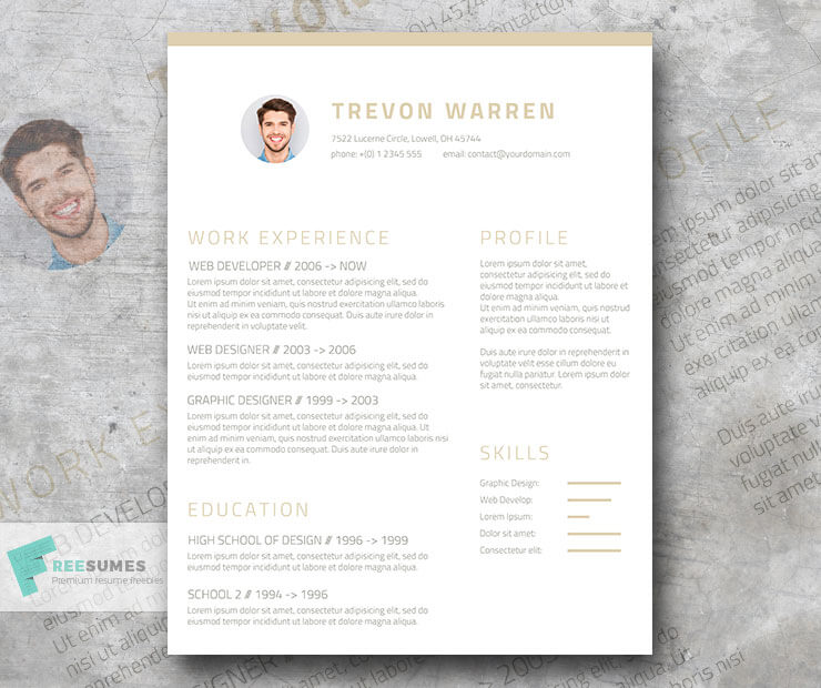 Download Template CV Word 100% Gratis - Free Clean Resume Template for Word – Champagne & Wine