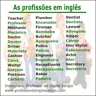 As profissões em inglês
