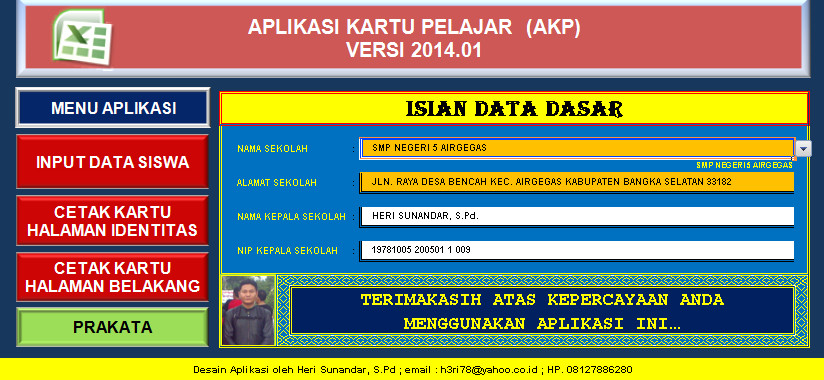 Aplikasi Kartu Pelajar (AKP) 700 Siswa Otomatis dengan Excel (xls) Download Gratis