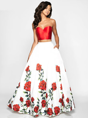 Sweetheart Flair Two pieces Prom ivory-red dress