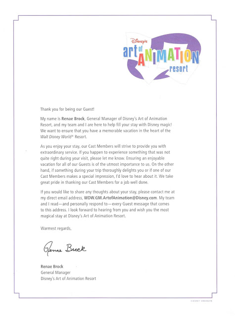 Letter from Disney's Art of Animation General Manager Renae Brock