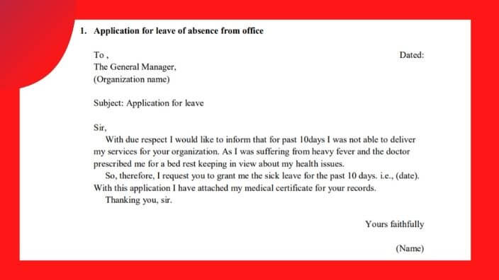 Application  Format for leave of absence from office