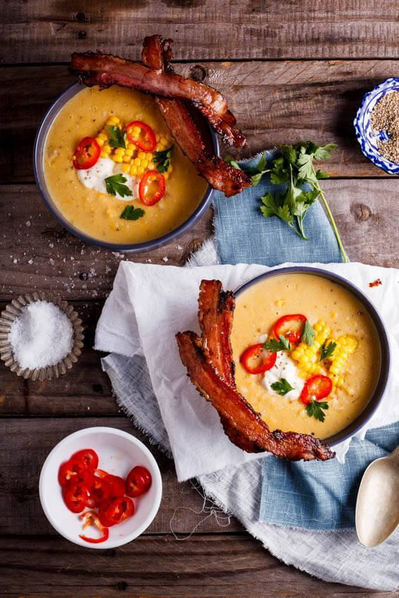 Corn chowder with bacon dippers recipe