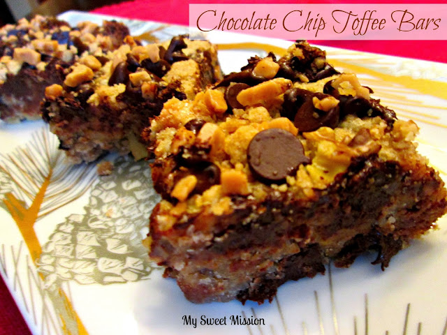 Chocolate Chip Toffee Bars by MySweetMission.net