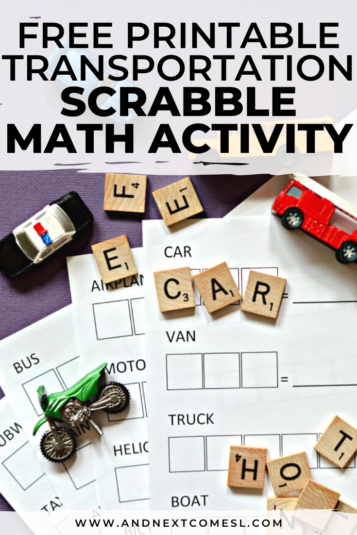 Free printable transportation themed Scrabble math worksheet for kids