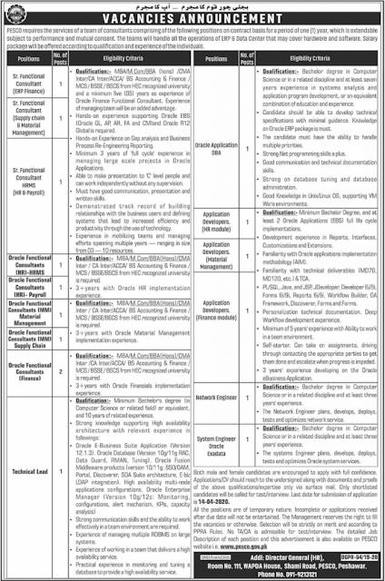 Peshawar Electric Supply Company PESCO Jobs 2020
