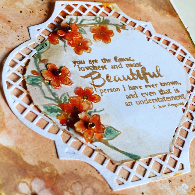 Die Cut Lace Edge Focal Image for Handmade Card using Tim Holtz Distress Inks