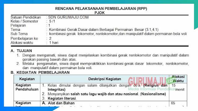 RPP PJOK 1 Lembar Semester 1 SD Kelas 5 Tema 1
