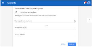 seting pembayaran akun adsense IDR ke bank lokal