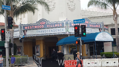 Westwood Village Theater set up for the Transcendence premiere