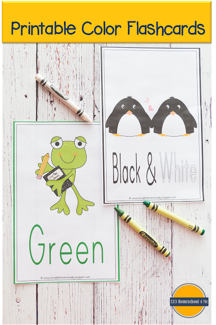 FREE printable color flashcards - these are great to use to teach toddler, preschool, prek, kindergarten colors and color words, hang on the wall, color scavenger hunts, sorting games, and more