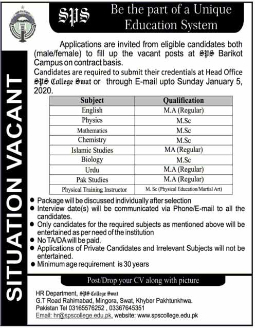 SPS College Swat Jobs For Teachers