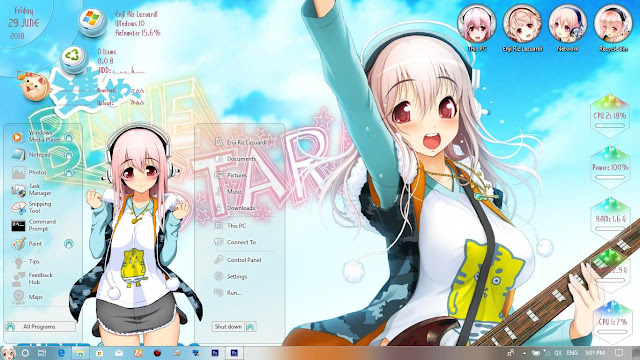 Windows 10 Ver. 1709 Theme Super Sonico by Enji Riz