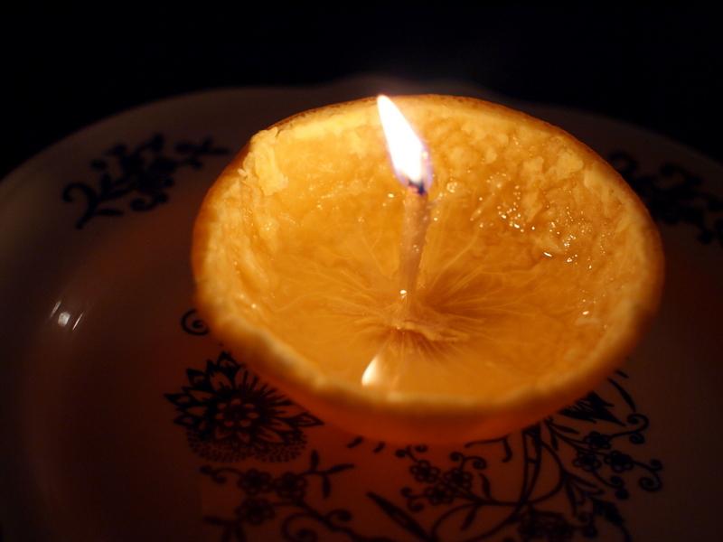life hacks using orange peel candle
