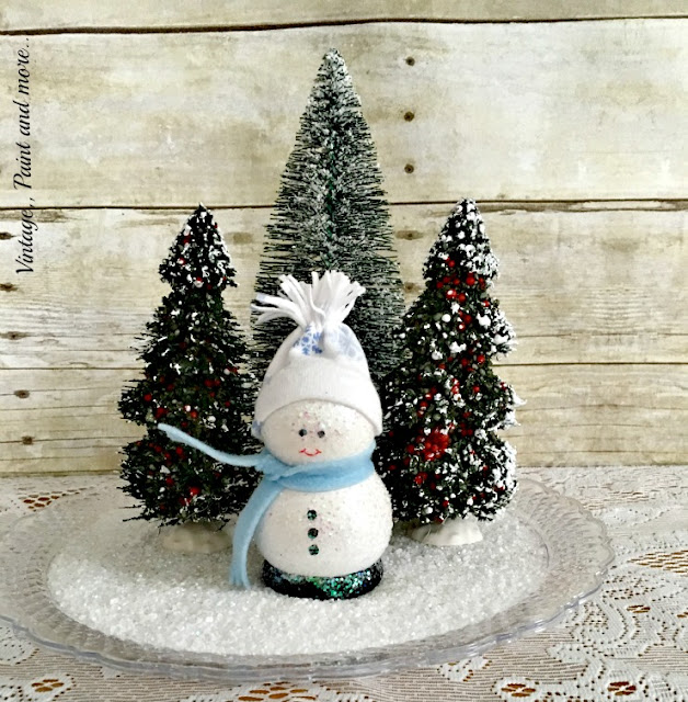 "Vintage, Paint and more... A cute DIY wooden snowman in a snow scene created with bottle brush trees and ""faux"" snow"