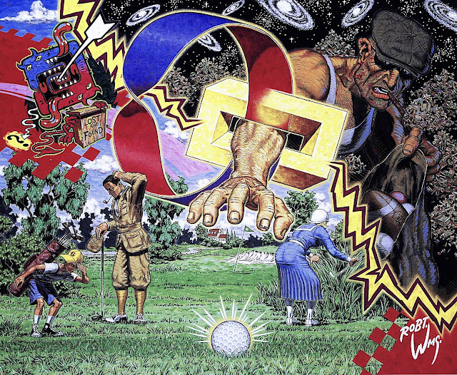 a Robert Williams painting about lost balls on the golf course