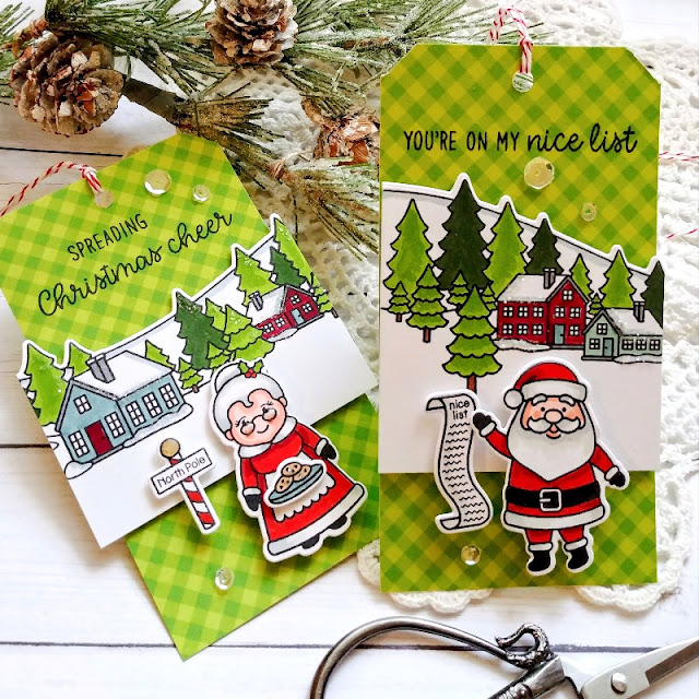 Sunny Studio Stamps: North Pole Winter Scenes Winter Themed Holiday Cards Tags by Kelly Lunceford