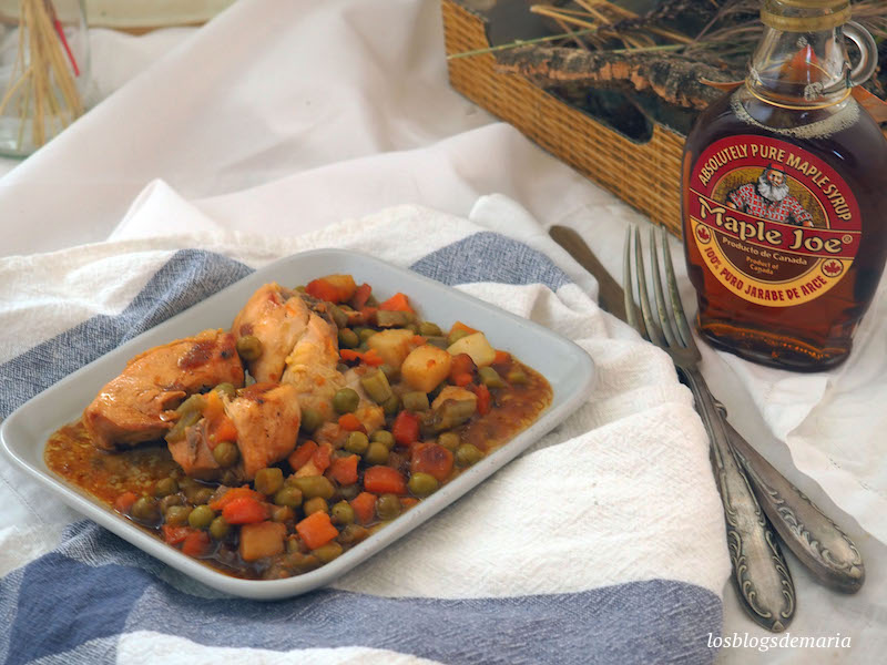 Pollo al jarabe de arce con verduras