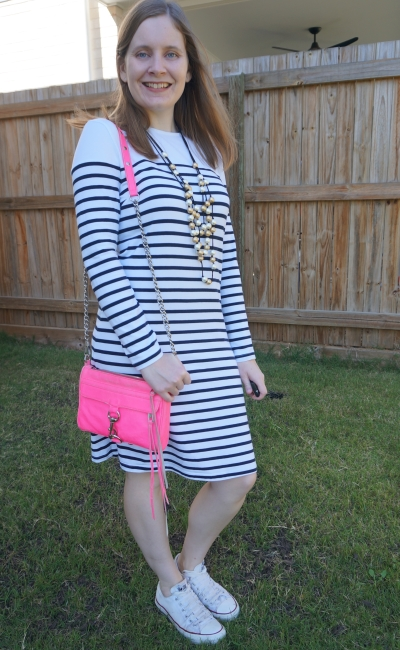 Kmart white striped tee dress Converse Chucks neon pink mini MAc bag statement necklace thrifted style | awayfromblue