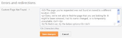 Custom 404 Error Page for Blogger