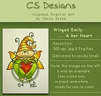Winged Emily faerie digital stamps