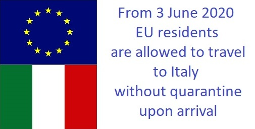 Travel restrictions to Italy for EU residents lifted as of 3 june 2020