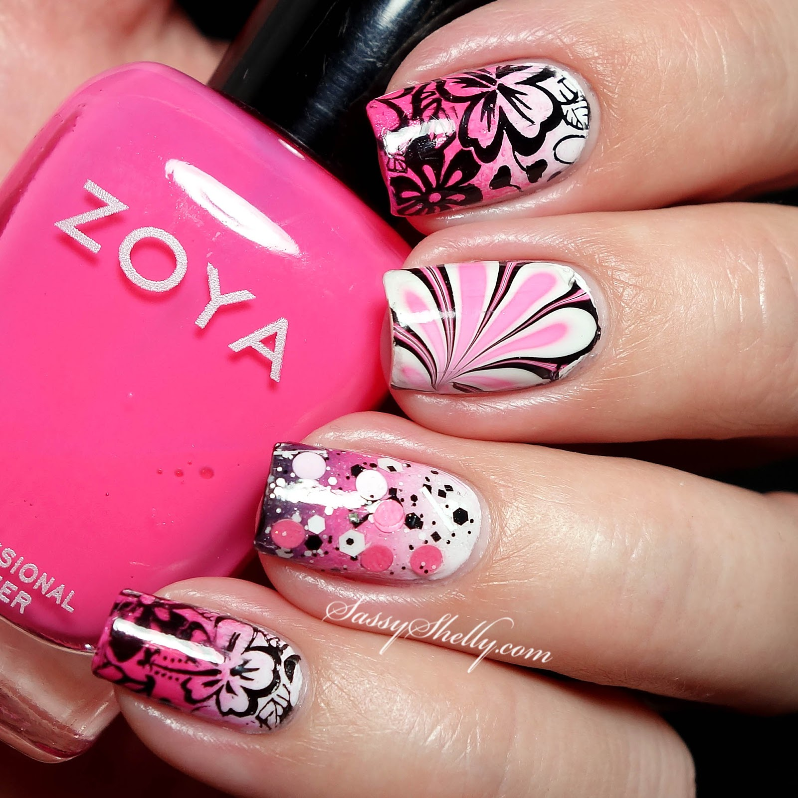 Black White Pink Nail Art Designs: Digit-al Dozen DOES Countries & Cultures