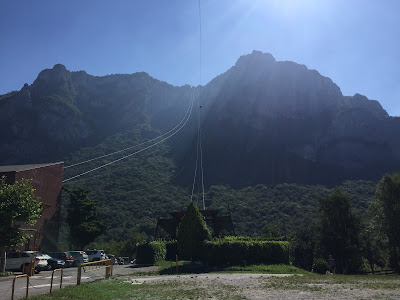 Base station of funivia looking up to Piani d'Erna.