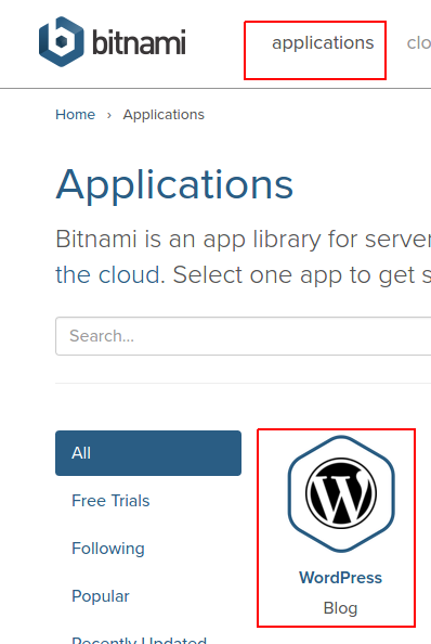 find bitnami for linux