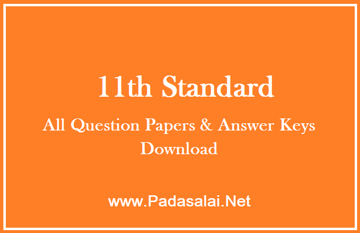 11th Standard ( Plus One ) - All Question Papers & Answer Keys