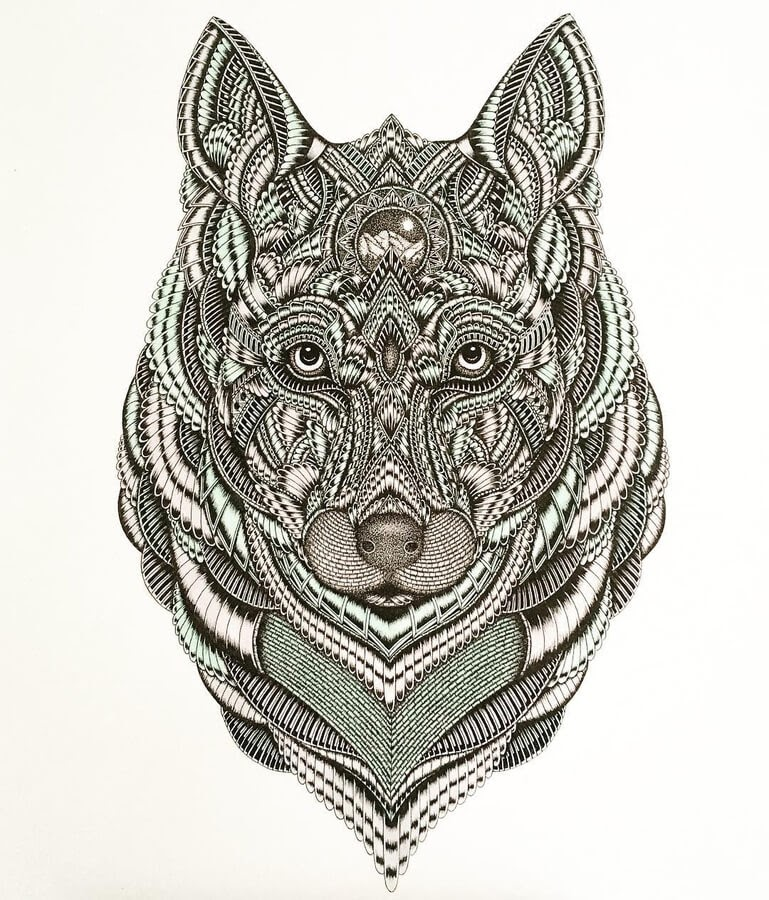 09-Wolf-Zentangle-Stine-Lee-www-designstack-co