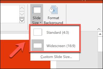 تحديد حجم الشريحة في PowerPoint