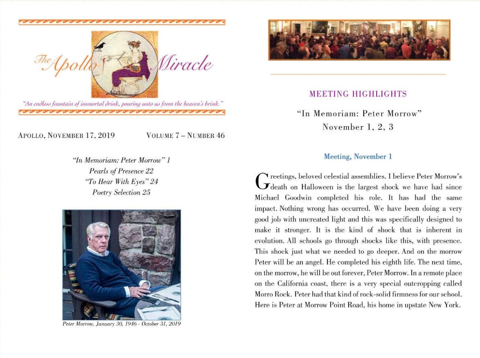 Robert Earl Burton Fellowship of Friends Apollo Miracle Newsletter regarding Peter Morrow's death