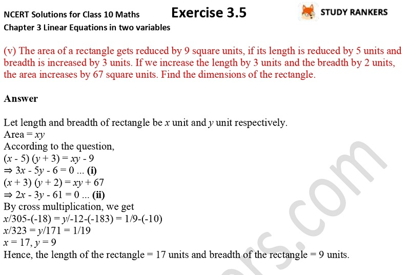 NCERT Solutions for Class 10 Maths Chapter 3 Pair of Linear Equations in Two Variables Exercise 3.5 Part 6