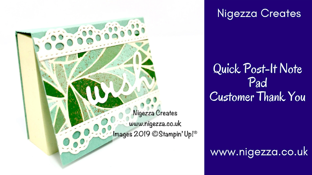 Nigezza Creates Quick Covered Post It Note Pad: Customer Thank You Gift, Stampin' Up! Mosaic Mood, Arts & Crafts, Well Written