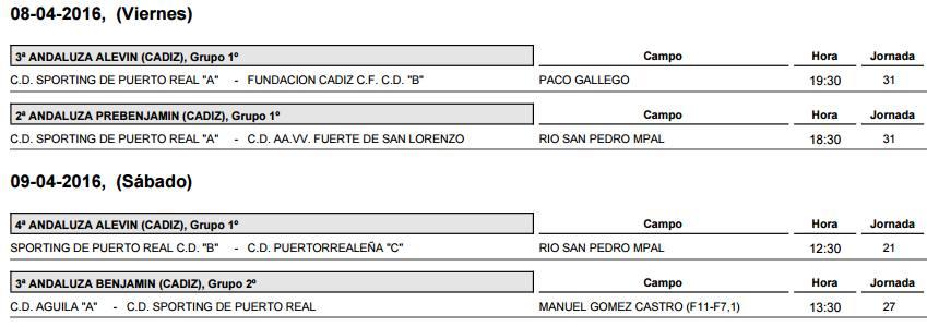 Sporting de puerto real horarios de partidos for Horario correos puerto real