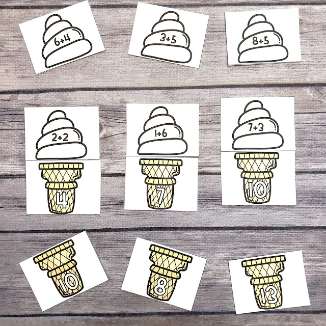 These free ice cream addition puzzles are perfect for helping your kindergartner or first grader practice their math facts.