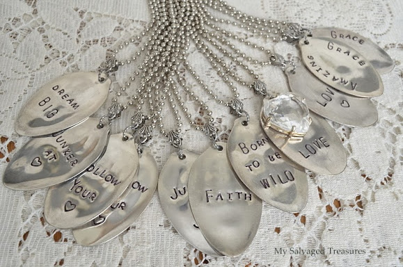 how to use metal stamps to create silverware necklaces